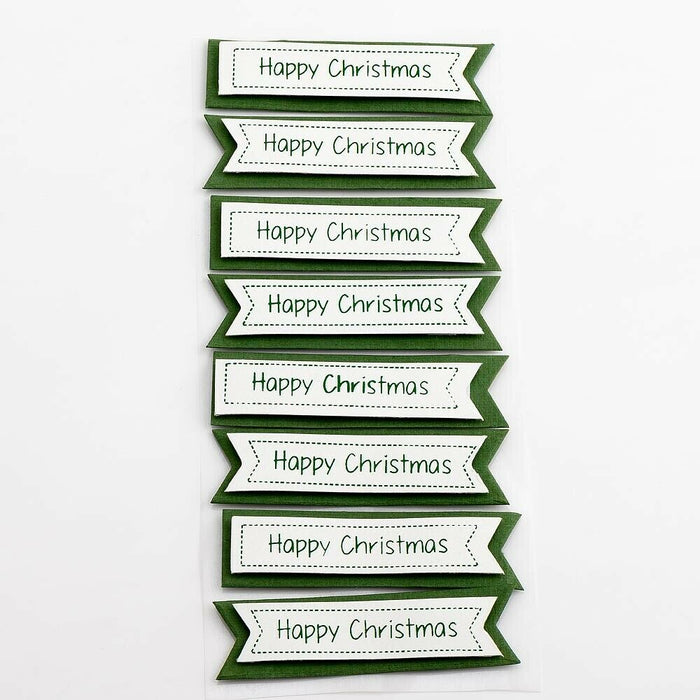 Happy Christmas Panels Green - Handcrafted Christmas Craft Decorations - Handmade Card Embellishments