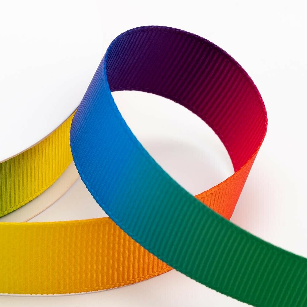 10mm Bright Rainbow Ribbon Double Sided Grosgrain - Fantasy Unicorn, Card Making, Crafts, Scrapbooking