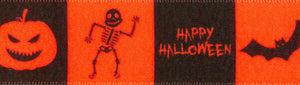 Berisfords Happy Halloween Bat Pumpkin Skeleton Neon Orange Satin 25mm Ribbon