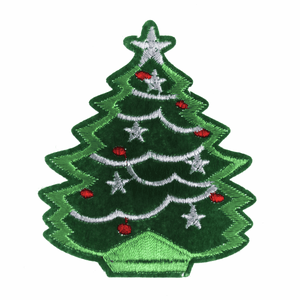 Christmas Tree Christmas Craft Motif - Iron & Sew On Festive Applique - Xmas Patch