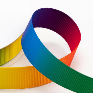 25mm Bright Rainbow Ribbon Double Sided Grosgrain - Fantasy Unicorn, Card Making, Crafts, Scrapbooking