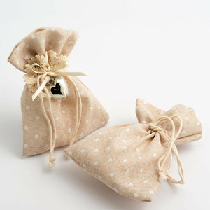 Mini Hearts - Drawstring Favour Bags 1, 5 or 10 Pack Wedding Christmas Favours - Hessian Bag