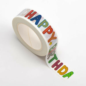 Happy Birthday Themed Washi Tape - 15mm x 10m Re-positional Adhesive Roll - Paper Crafts, Birthday Decoration, Gift Wrapping
