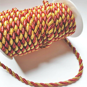 Metallic Gold And Burgundy- 6mm Satin Twisted Barley Braid Cord Rope Trim - Upholstery Xmas