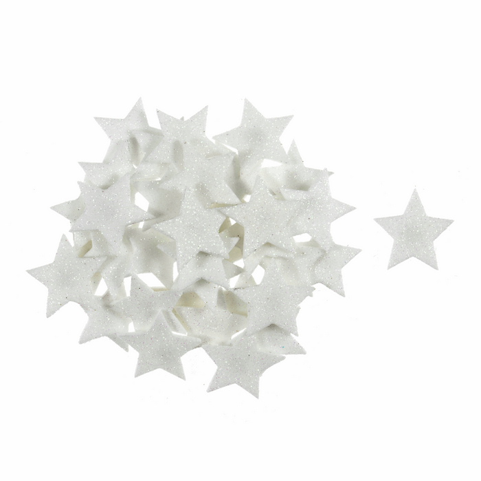Iridescent White Glitter Star Embellishments - 35 x Self Adhesive Foam Shapes - Christmas Crafts