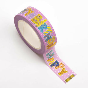 Pink Happy Birthday Themed Washi Tape - 15mm x 10m Re-positional Adhesive Roll - Paper Crafts, Birthday Decoration, Gift Wrapping