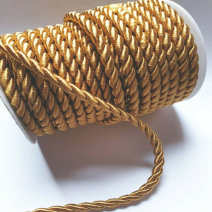 Gold - 6mm Satin Twisted Barley Braid Cord Rope Trim - Upholstery Xmas