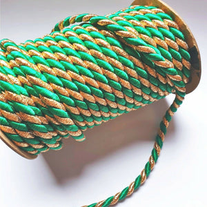 Metallic Gold And Emerald Green- 6mm Satin Twisted Barley Braid Cord Rope Trim - Upholstery Xmas