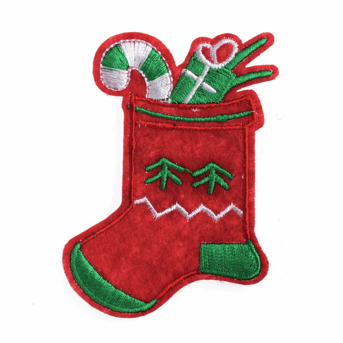 Stocking Christmas Craft Motif - Iron & Sew On Festive Applique - Xmas Patch