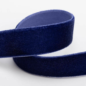 Navy Velvet Ribbon - 3 Widths - 9mm, 18mm, 25mm - 1 Metre, 10 Metre Full Roll - Cut Lengths