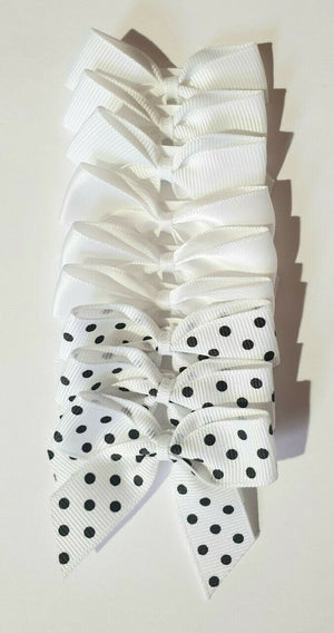 White - 5cm Satin Polka Dot Grosgrain Bows - Self Adhesive Pre Tied 16mm Ribbon 9 Pack