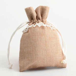 Natural With Lace - Drawstring Favour Bags 1, 5 or 10 Pack Wedding Christmas Favours - Linen Bag