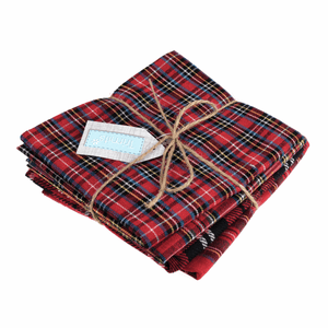 Plain Tartan Fat Quarter Bundle - 4 Pack - Trimits - Christmas Crafts Gifts Stockings