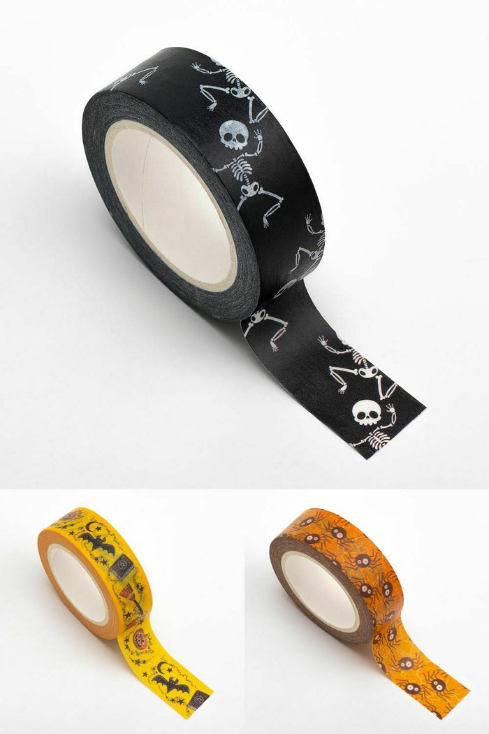 Multi-Pack 3 Halloween Themed Washi Tape 15mm x 10m Repositionable Low Tack Adhesive Roll