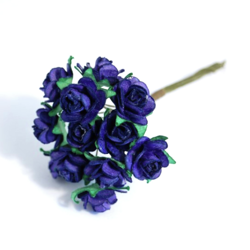 Royal Blue 1.5cm Miniature Paper Tea Roses - Bunch of 12 Stems - Button Blue Crafts