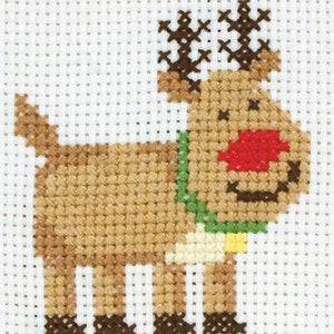 Rudolph The Reindeer- Anchor Counted Cross Stitch Kit - Children / Beginners Cross Stitch Kit - 1st Kit