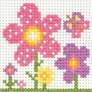 Sarah Flowers- Anchor Counted Cross Stitch Kit - Children / Beginners Cross Stitch Kit - 1st Kit