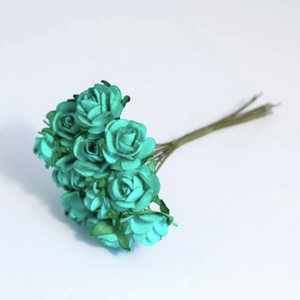 Jade Green 1.5cm Miniature Paper Tea Roses - Bunch of 12 Stems - Button Blue Crafts