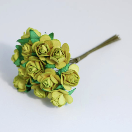 Lime Green 1.5cm Miniature Paper Tea Roses - Bunch of 12 Stems