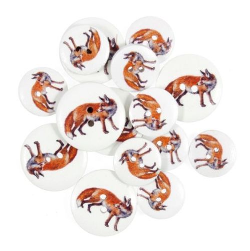 Red Fox - British Wildlife Wooden Craft Buttons - Pack of 15 - CFB050