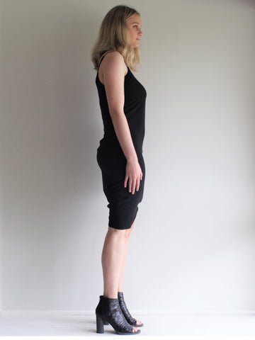 Basic Straight Slip Dress BLACK