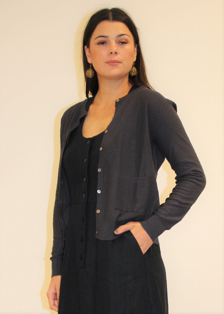 Cotton Pointelle Cardigan COAL
