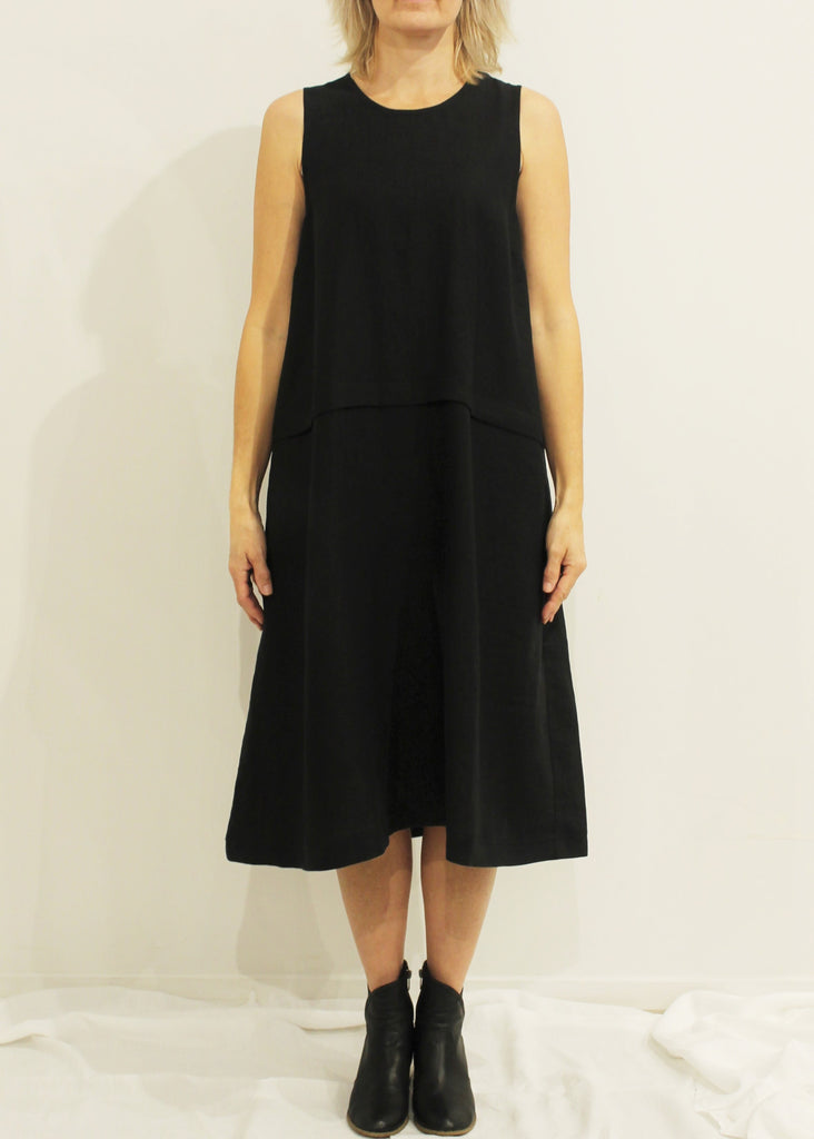 Exaggerated A-Line Dress BLACK