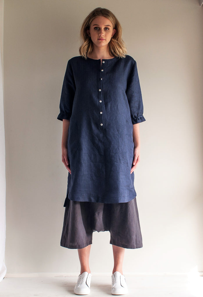 Linen Frill Sleeve Shift Dress is 100% linen navy and black herringbone