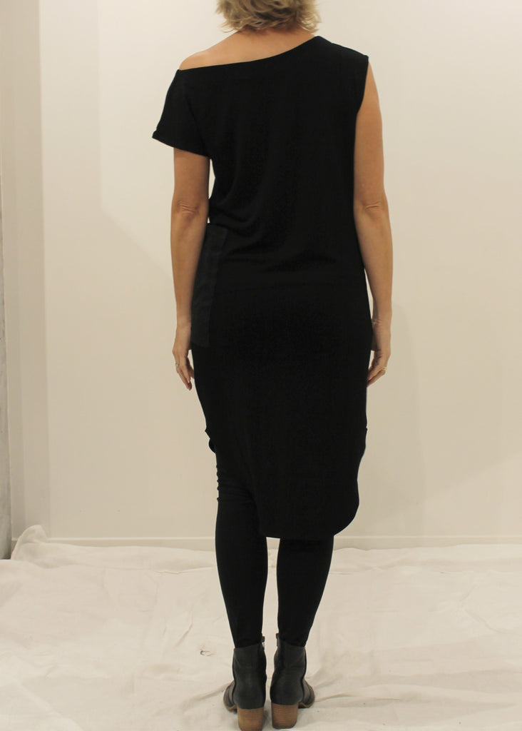One Shoulder Pocket Dress BLACK