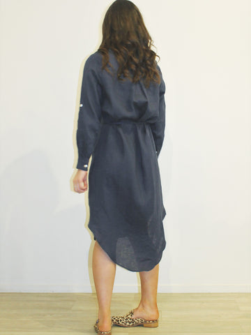 Linen Shirt Dress NAVY