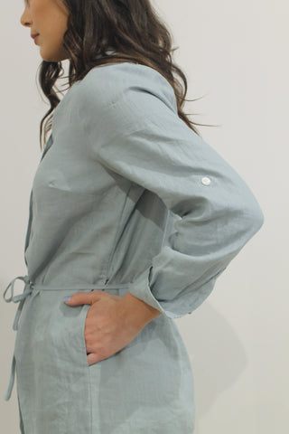 Linen Shirt Dress DUCK EGG