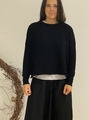 Rolled Edge Sweater BLACK