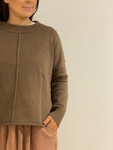 Rolled Edge Sweater TAUPE
