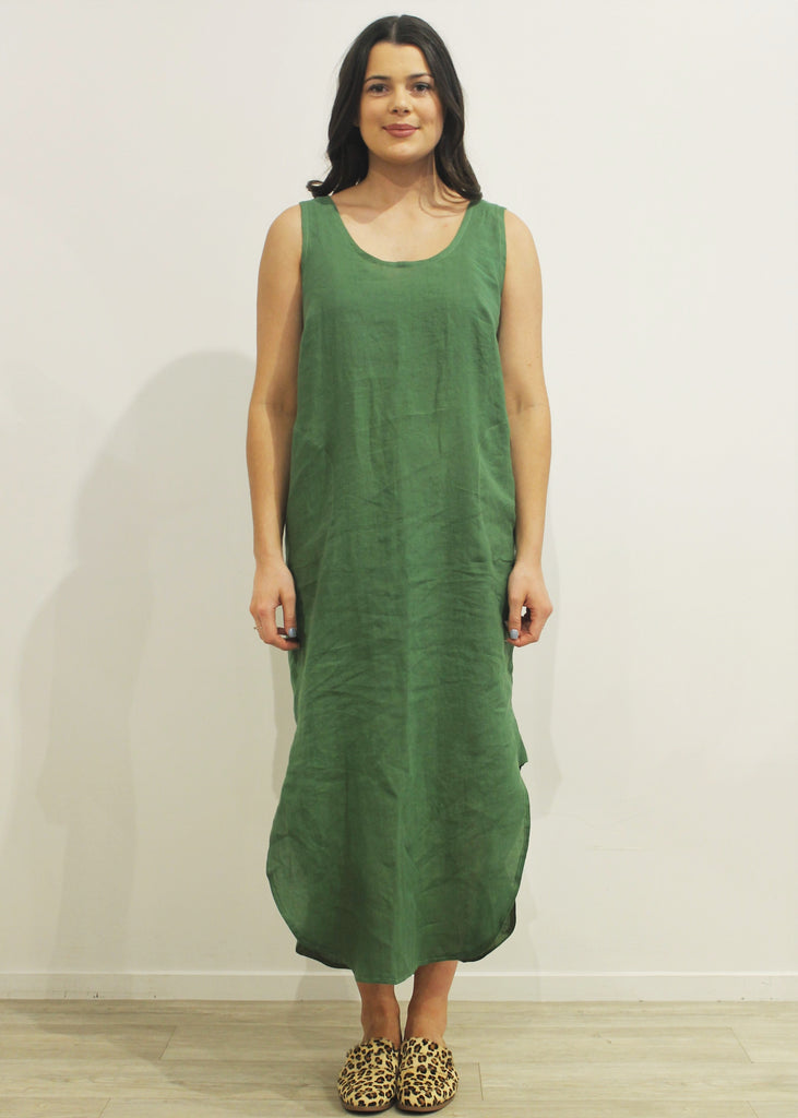 Tank Dress with Pockets GREEN