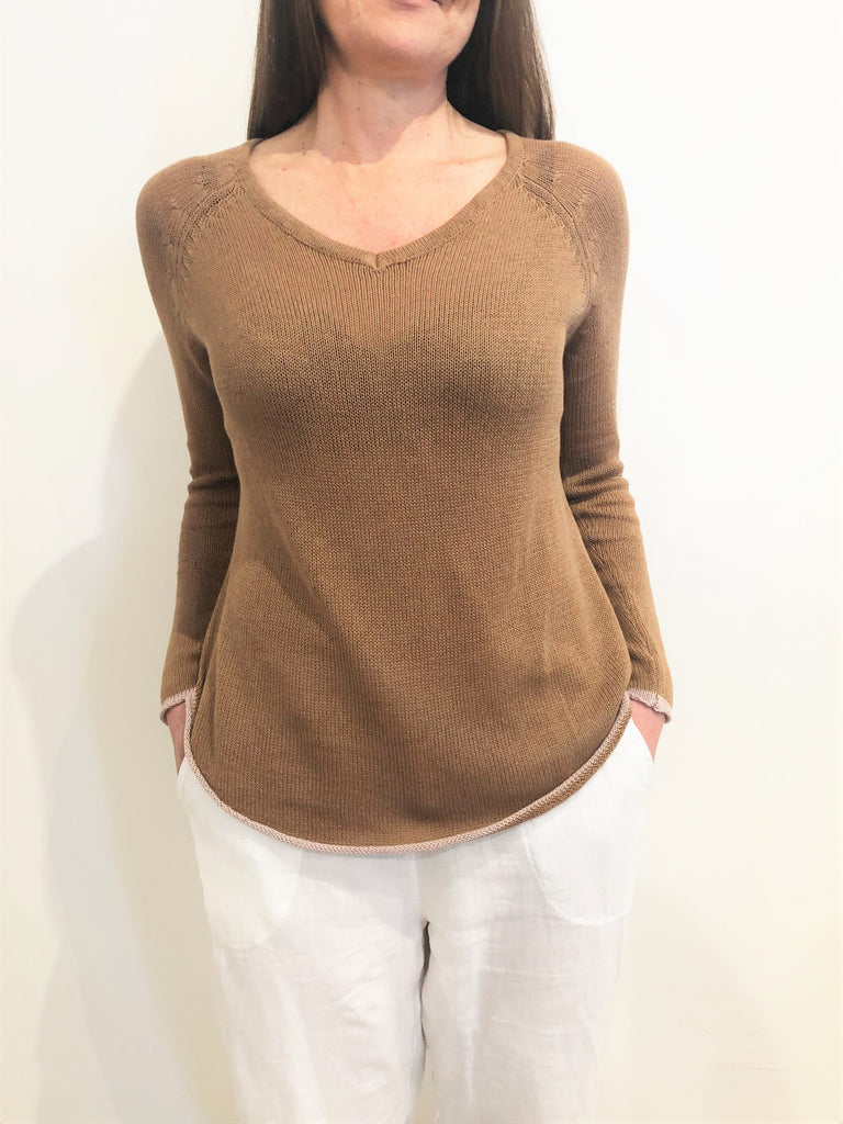Curved Hem V Neck CAMEL/ROSE