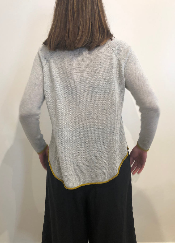 Curved Hem V Neck GREY MARLE/GINGER