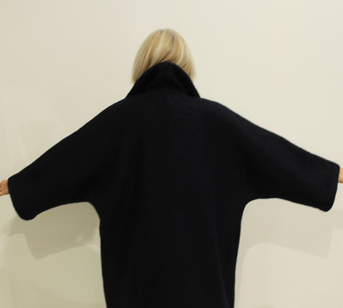 Waterfall Coat, Wool NAVY