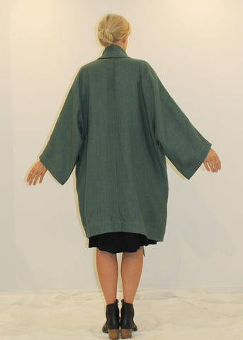 Waterfall Coat, Heavy Linen PETROL