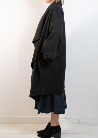Waterfall Coat, Heavy Linen/Cotton BLACK