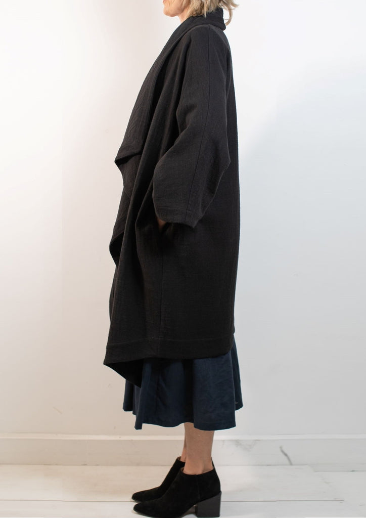 Waterfall Coat, Heavy Linen/Cotton NAVY