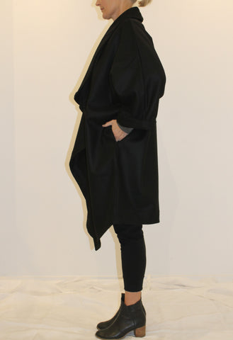 Waterfall Coat, Wool BLACK
