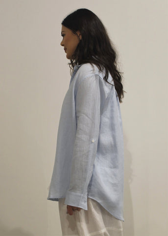 Collared Linen Shirt ICE BLUE