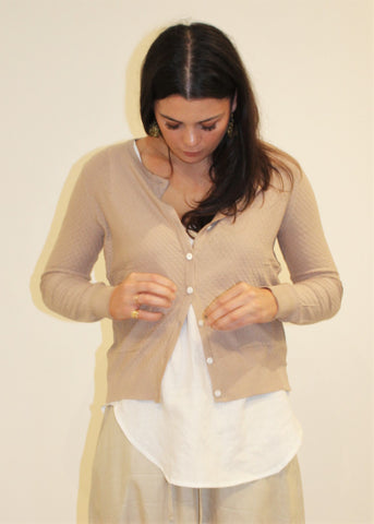 Cotton Pointelle Cardigan CHAI