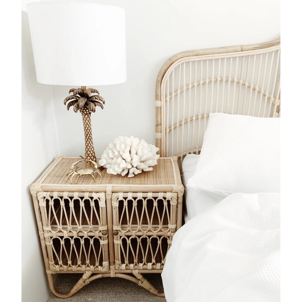 Rattan Bedside Table Cabinet