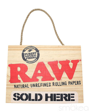 "Raw ""Sold Here"" Wood Sign"