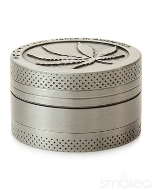 "SMOKEA Store Products SMOKEA Silver Leaf 1.5"" 3pc Herb Grinder"