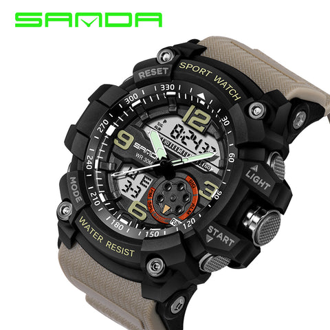 New Sanda Luxury Brand Men Sport Digital Led Watch G Military Multi-function