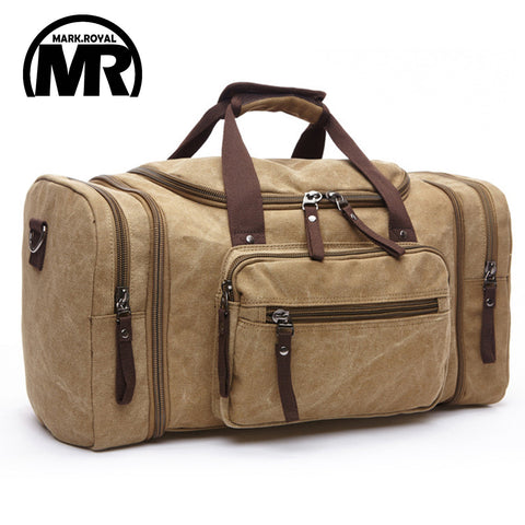 MARKROYAL Canvas Men Travel Bags Carry on Luggage Bags Weekend Bag Overnight high Capacity