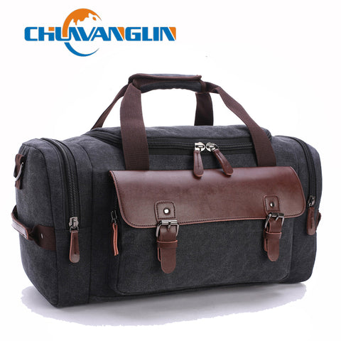 Canvas Leather Men's Travel Bag Carry On Large Weekend Bag Overnight