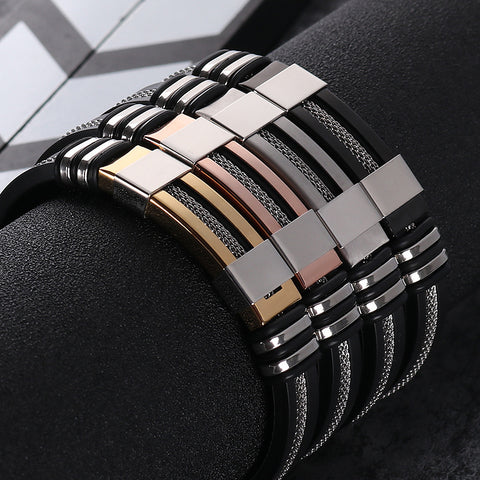 2018 Men's Stainless Steel Silicone Black Bracelet WristBand Punk Style